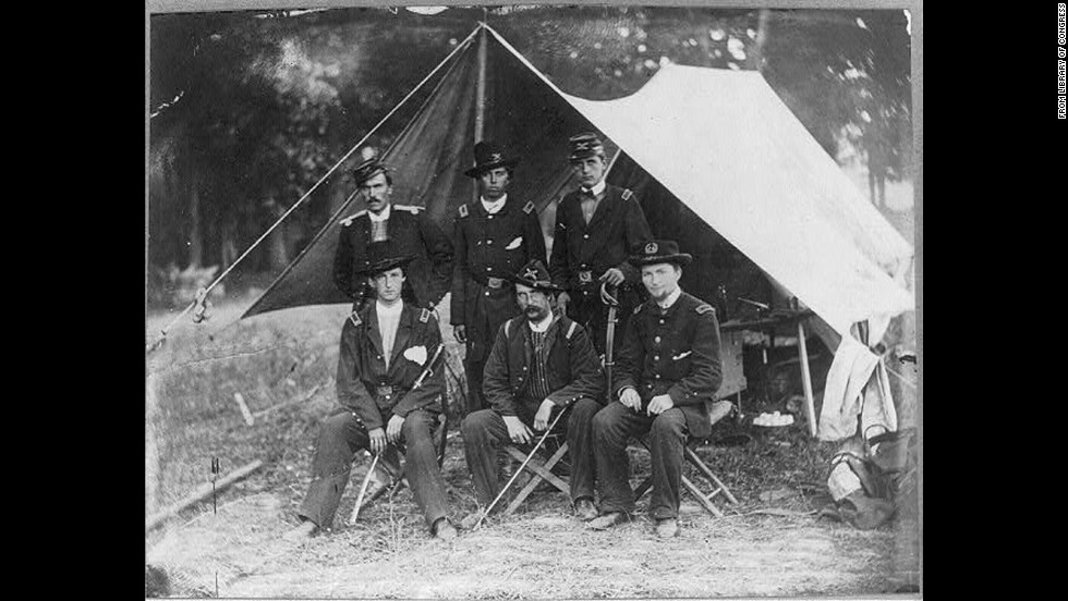 Lt. Alonzo Cushing (center, back row) is shown with others at Antietam, Maryland, in 1862. He died at Gettysburg in July 1863 and is cited for defending Union positions against Pickett's Charge. He was killed during the action.