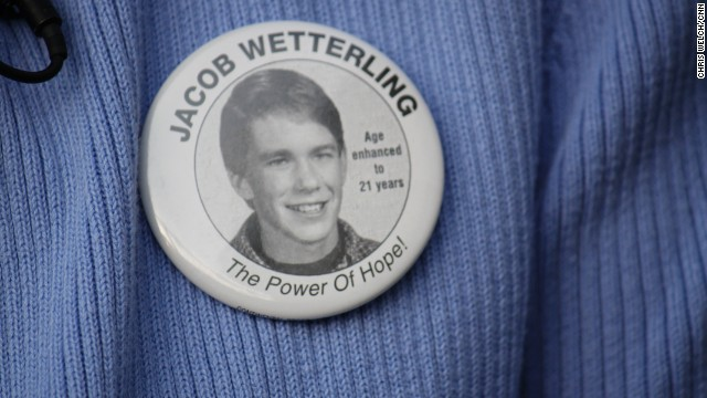 Patty Wetterling wears a button that features a photo of what her son Jacob might look like as an adult. Jacob was abducted at age 11 nearly 20 years ago. Photo taken August 31, 2009.Patty Wetterling wears a button that features a photo of what her son Jacob might look like as an adult. Jacob was abducted at age 11 nearly 20 years ago. Photo taken August 31, 2009.