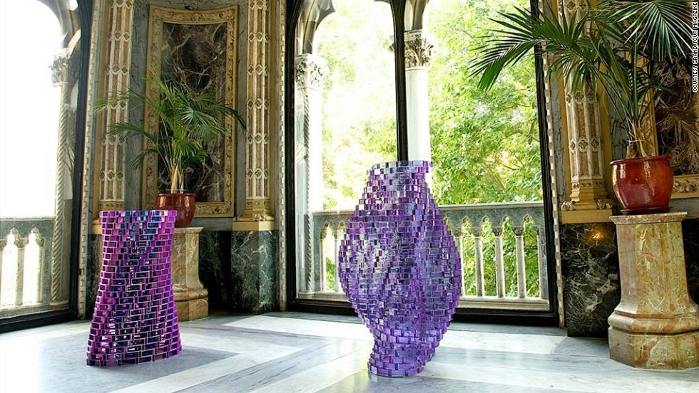 Genius Loci is an exhibition showcasing 19 artists known for their far-reaching influence and contemporary relevance.  A selection of glass sculptures by Shirazeh Houshiary, made from allessandrite glass and polished stainless steel, are exhibited across the interior of the Palazzo Franchetti.