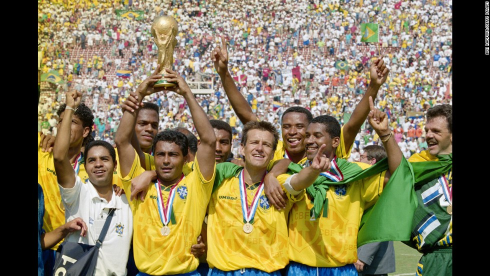 Brazil beat Italy in a penalty shootout to win its fourth World Cup. That year, the soccer tournament was hosted by the United States.