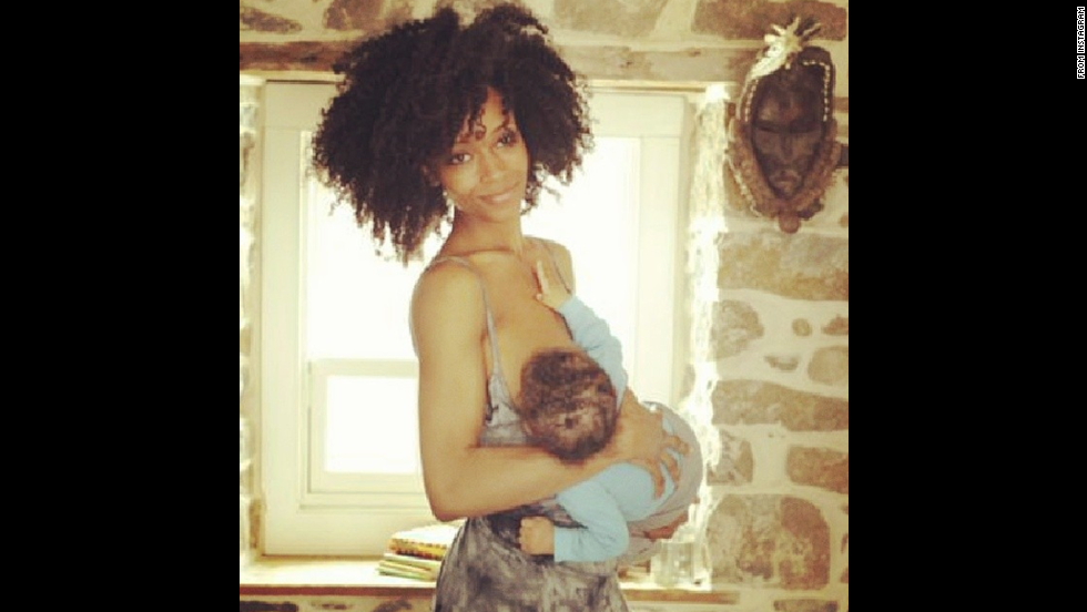 "Model and actress Yaya Dacosta posted this photo of herself feeding her son Sankara. Her <a href=""http://instagram.com/p/lv4qTikeIC/ "" target=""_blank"">message</a>: ""vitamins for society! #normalizenursing"""