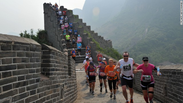Runners compete in the Great Wall marathon in 2012. The annual race is regarded as one of the most challenging in the world.