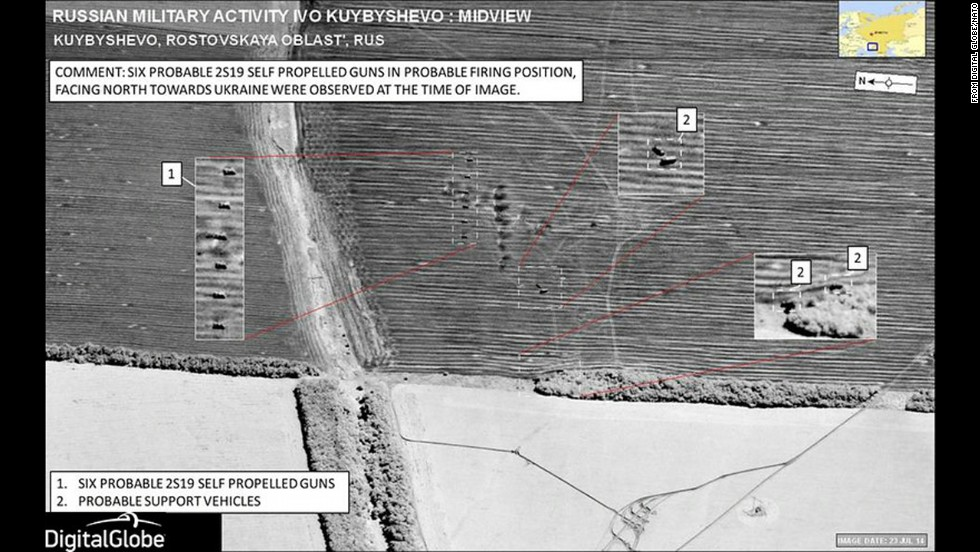 This image, captured on July 23, depicts what are NATO says are probably six Russian 2S19 self-propelled, 153mm guns near Kuybyshevo, Russia. This site is 4 miles south of the Ukraine border, near the village of Chervonyi Zhovten. Although the guns are not in Ukraine, NATO said, they are pointed north, toward Ukrainian territory.
