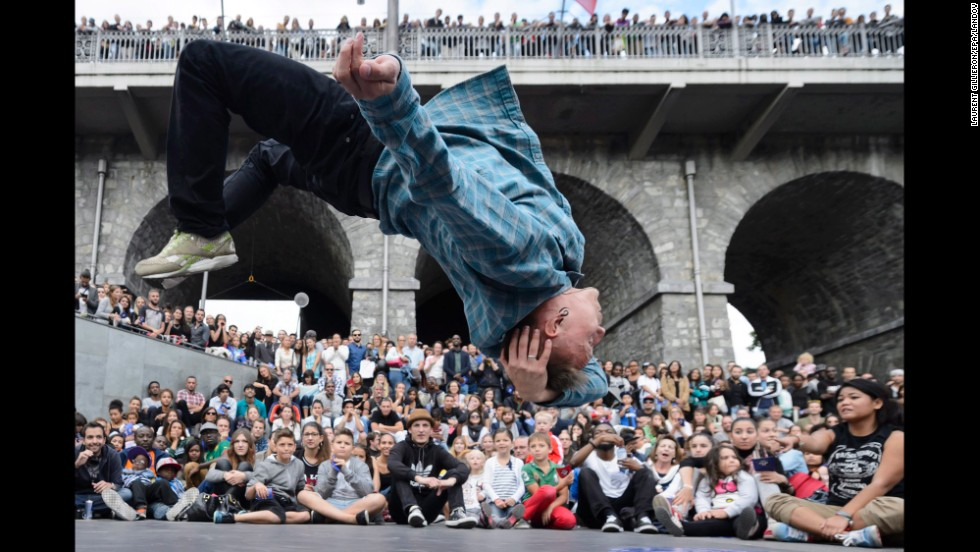 A street dancer performs during the Red Bull Beat It competition in Lausanne, Switzerland, on Saturday, August 23.