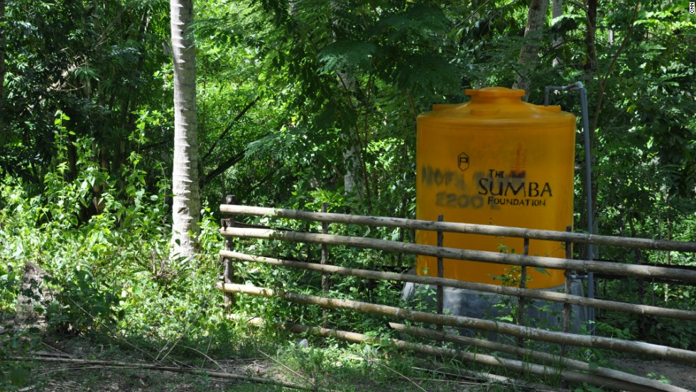 The Sumba Foundation has built wells and more than 200 water stations. Villages were built on hills to guard against attack, but getting water is difficult and can take a full day to fetch. New supplies enable women and children to go to school or work rather than trek all day for water.
