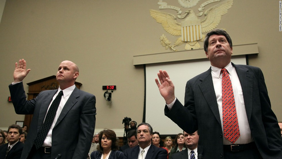 Peanut Corp. of America owner Stewart Parnell, right, and former plant manager Samuel Lightsey testify before Congress about the 2008-2009 salmonella outbreak linked to their company. They were both indicted later on criminal charges that resulted in a groundbreaking trial.