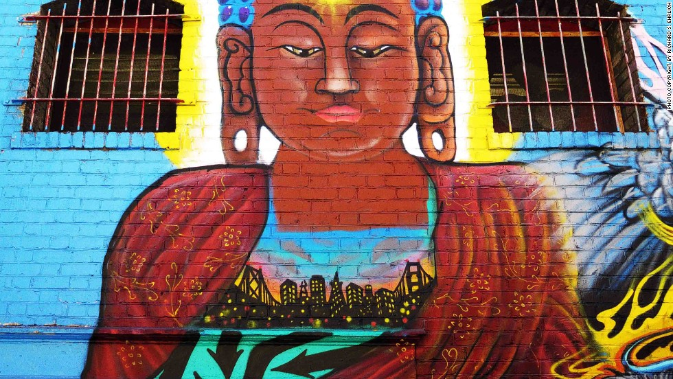 The brick walls of San Francisco's Chinatown are an ideal surface for muralists to display their art.