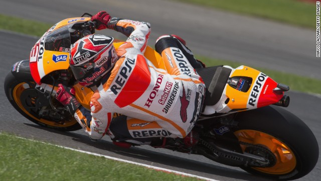 Marc Marquez of Spain and Repsol Honda Team rounds the bend during the MotoGP race during the MotoGp Of Great Britain - Race at Silverstone Circuit on August 31, 2014 in Northampton, United Kingdom.
