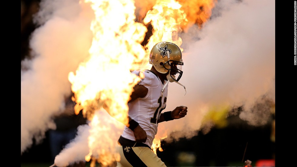 New Orleans Saints wide receiver Marques Colston is introduced to the home crowd before the NFL preseason game against Baltimore on Thursday, August 28.