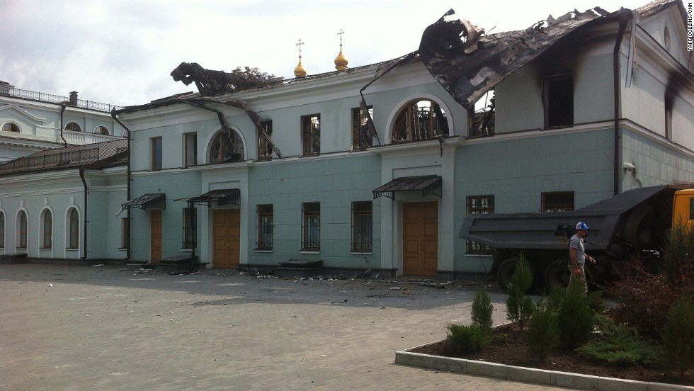 An abandoned school, which was the headquarters in Ilovaisk for the National Guard detachment. Every window in the  four-storey school has been shattered.