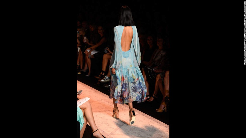 This look by BCBGMAXAZRIA featured a silk drop-waist dress with a light aqua hydrangea print.