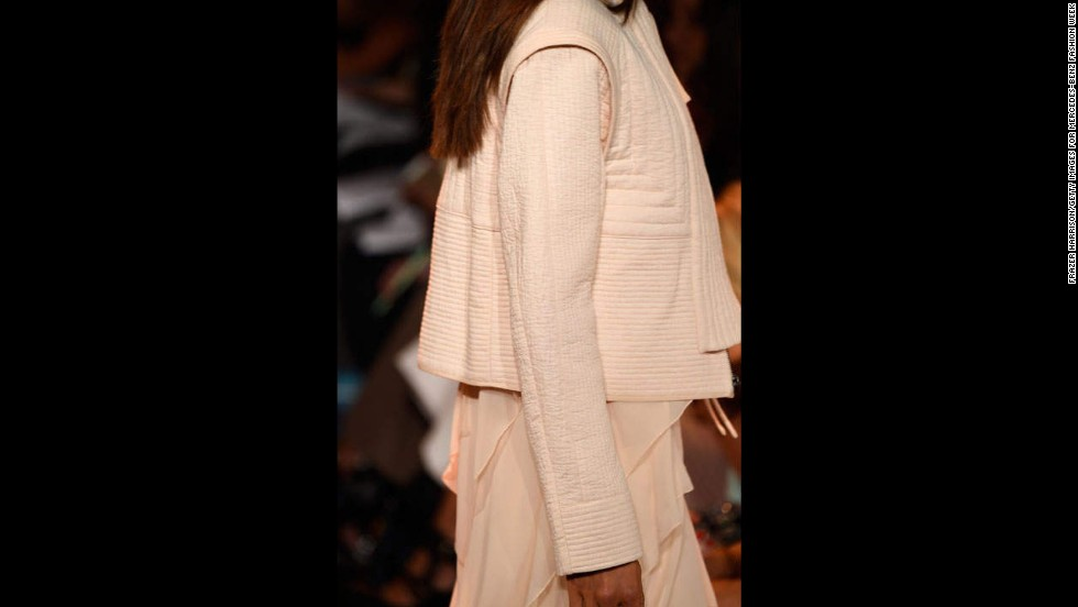 The palette of the BCBGMAXAZRIA collection was heavy on soft pastels, as seen in this quilted jacket.