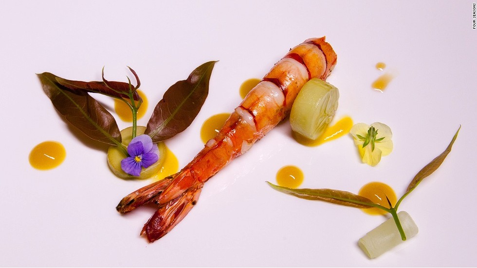 "<strong>The dish: </strong>Tiger prawn with cucumber and mango by chef Rodrigues. <br /><br />""Our roots and traditions are always present in all the dishes that we create,"" says the Portuguese executive chef at the Michelin-starred Feitoria restaurant."