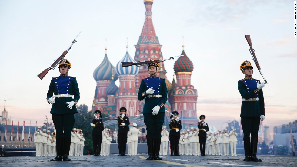 Members of the Guard of Honor of the Presidential Regiment from Russia perform in Moscow's Red Square on Saturday, August 30. It was the first day of the International Military Music Festival.