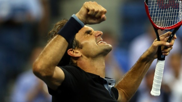 It was a combination of joy and relief for Roger Federer after he beat Gael Monfils at the U.S. Open.