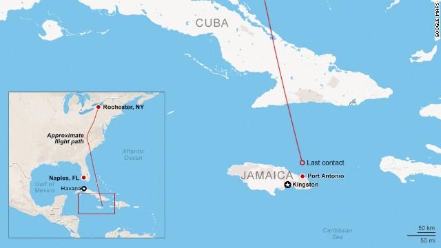 Map: Plane crash off Jamaican coast