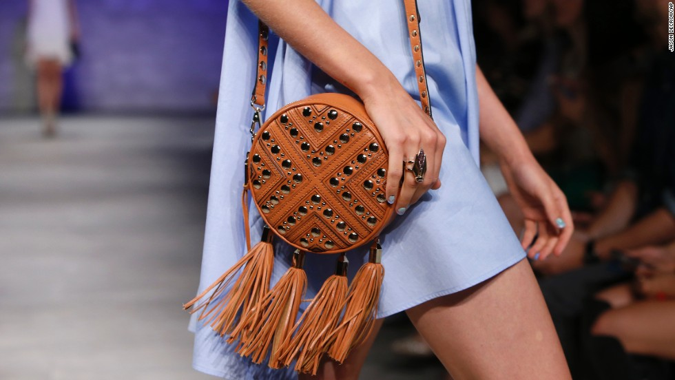 Rebecca Minkoff also sent her line of handbags down the runway with the models, including this fringe-lined option.
