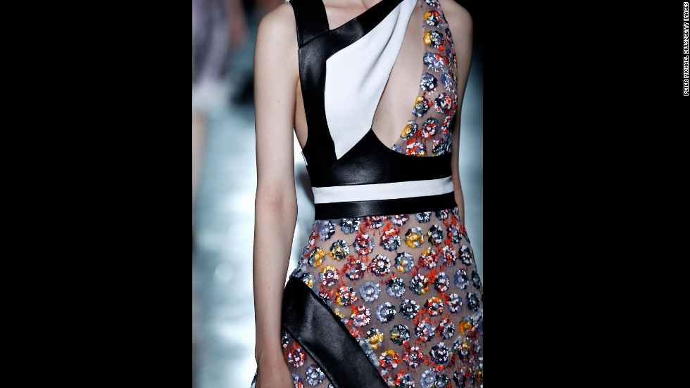 Many of Prabal Gurung's looks also featured asymmetrical elements.