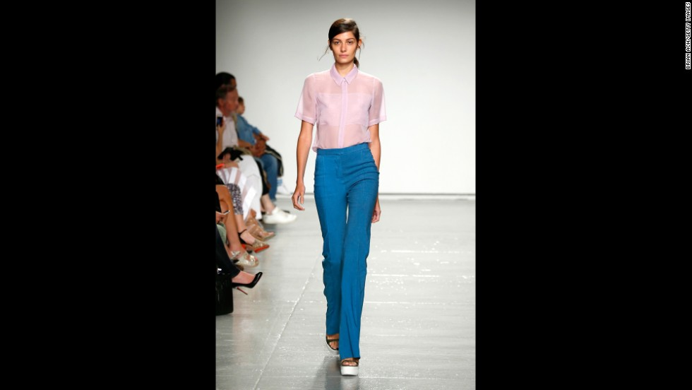 "A lilac-hued silk chiffon shirt was paired with a ""mariner"" slim pant for Rebecca Taylor."