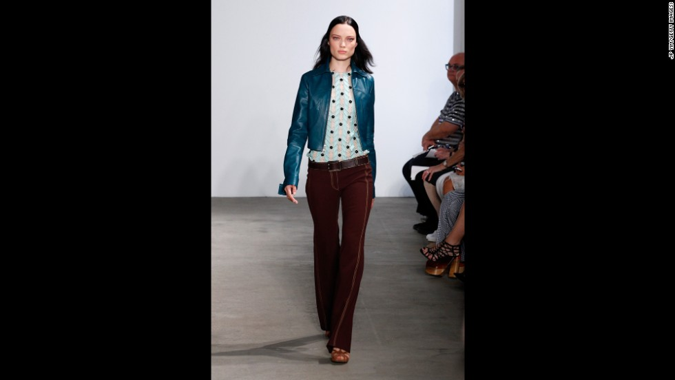Derek Lam channeled 1970s Americana with jewel-toned separates during his September 7 show.