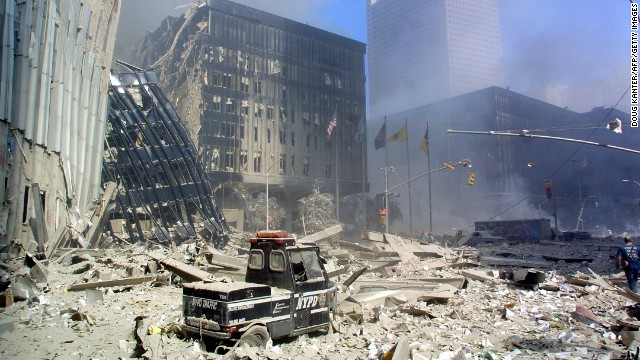 A police scooter sits in the rubble in lower Manhattan September 11, 2001.