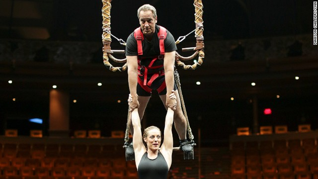 "Rowe holds ""Le Rev"" performer Chelsea Bakken above the water. ""I'm just so flattered by the level of trust,"" Rowe quips."