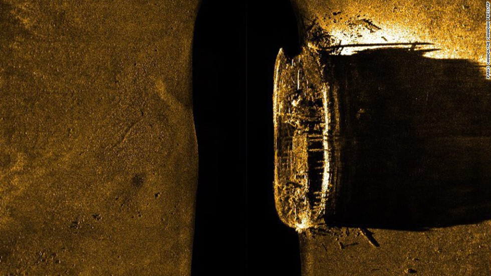 Canadian Prime Minister Stephen Harper announced on Tuesday, September 9, that one of two missing British explorer ships had been found. They disappeared in the Arctic in 1846, and it's not clear which ship has been found. This side-scan sonar image of a ship on the sea floor in northern Canada was released by Parks Canada.
