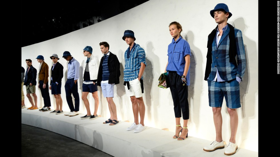Male and female models posed at the J. Crew presentation on September 9.