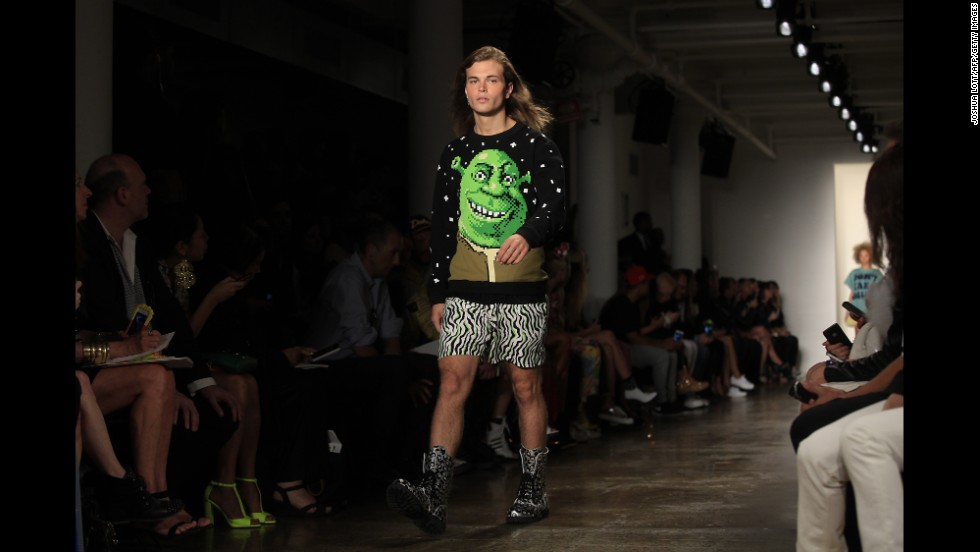 Jeremy Scott showed his eccentrically printed designs for men and women on September 10.