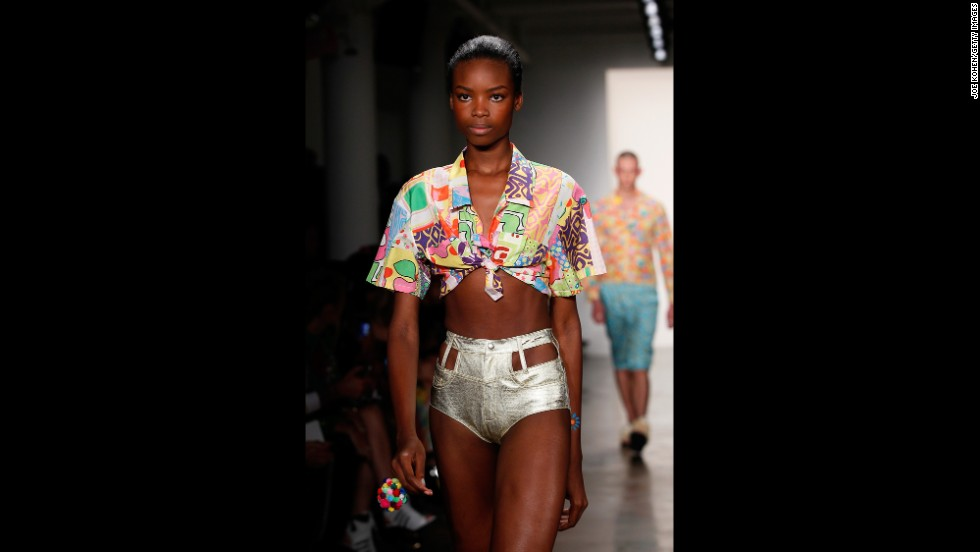 Jeremy Scott, who is also the creative director for Moschino, kept his show full of neon, festival-inspired wear.