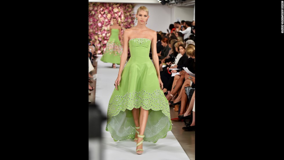 Oscar de la Renta sent a model down in a key lime gown that was shorter in front.