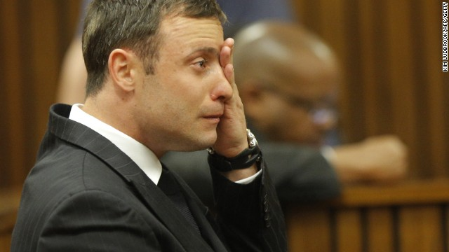 South African Paralympic athlete Oscar Pistorius cries in the dock during the verdict in his murder trial, Pretoria, South Africa, on September 11, 2014. Pistorius stands trial for the premeditated murder of his model girlfriend Reeva Steenkamp in February 2013.