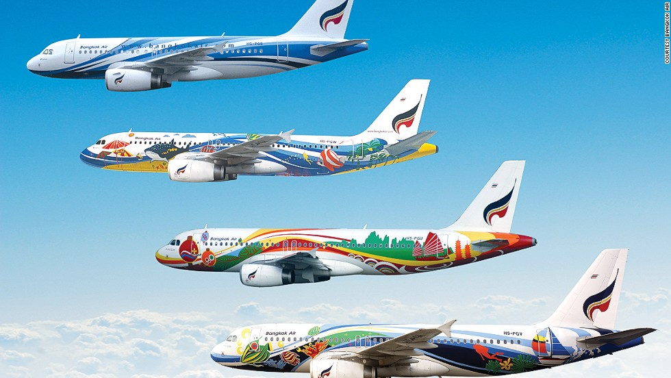 In 2013, Bangkok Airways introduced kid-friendly mascots on its livery to appeal to families. In general, the airline is known for its colorful planes.