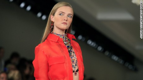 A model presents a creation by Ralph Lauren during the Mercedes-Benz Fashion Week Spring 2015 at The Pavilion of Lincoln Center in New York on September 10, 2014. AFP PHOTO/Joshua Lott        (Photo credit should read Joshua LOTT/AFP/Getty Images)