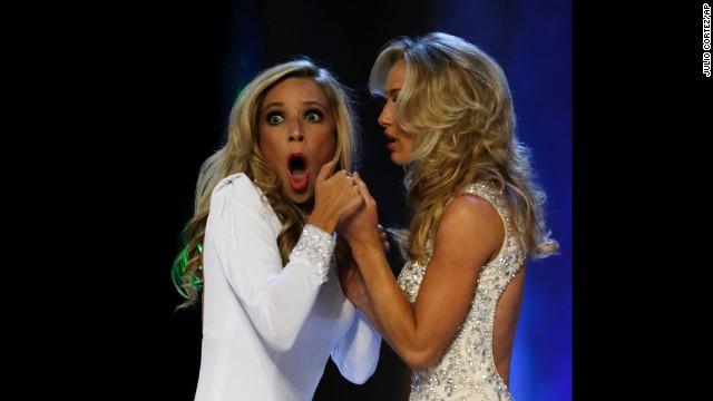 Kazantsev, left, gasps after she is named Miss America.