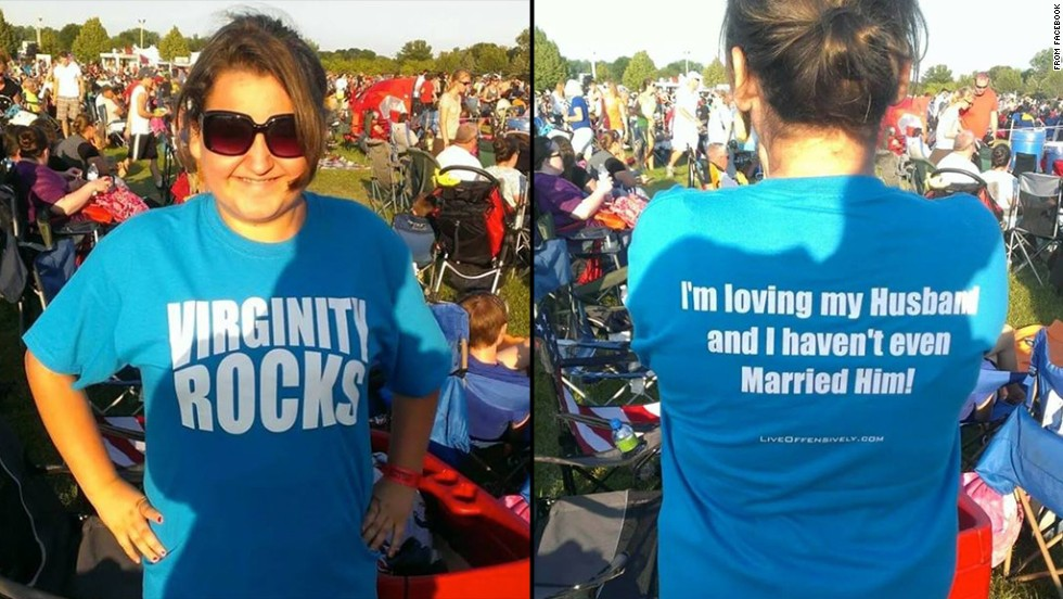 "Eighth-grader Chloe Rubiano of Ramay Junior High in Fayetteville, Arkansas, was asked to change out of a shirt that read ""Virginity Rocks."" The school's superintendent said references to sexuality on clothing are inappropriate for school. Chloe's mother wrote in a post on Facebook: ""Virginity is not a dirty word. Wouldn't it be great if it weren't treated as such?"""