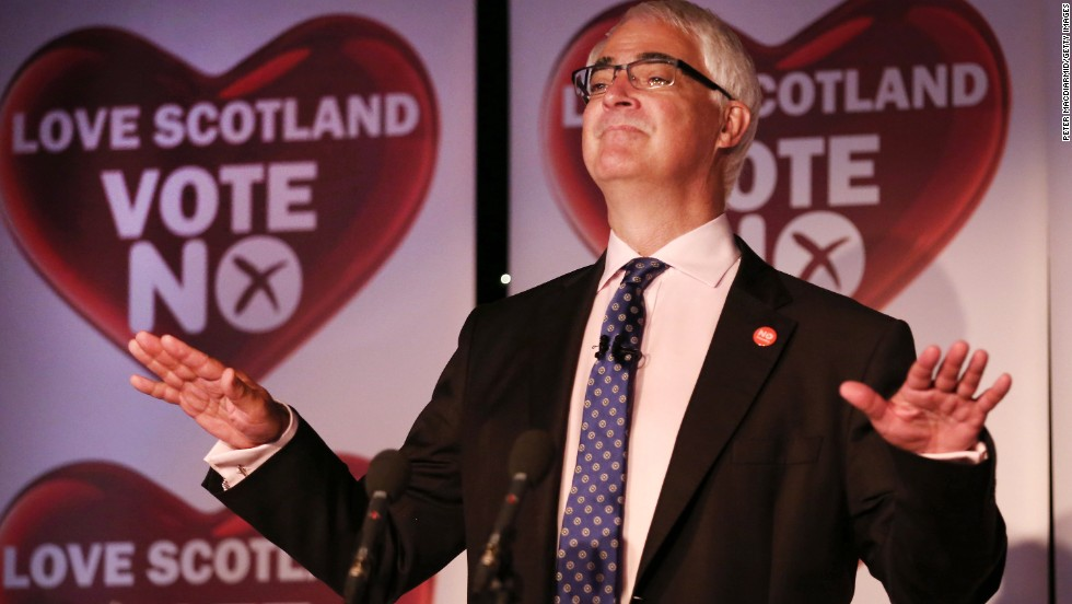 "Alistair Darling, leader of the pro-union ""Better Together"" campaign, addresses supporters in Glasgow, Scotland, after the announcement of the referendum's final results September 19."