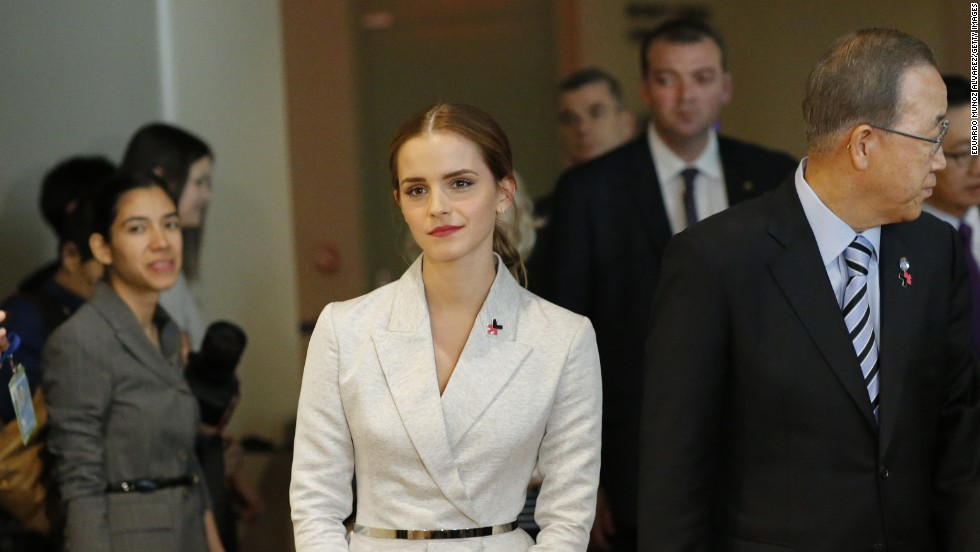 "Actress Emma Watson, a U.N. goodwill ambassador, joins U.N. Secretary-General Ban Ki-moon for the launch of the HeForShe campaign in September 2014. <a href=""http://www.cnn.com/video/data/2.0/video/world/2014/09/22/sot-emma-watson-un-heforshe-feminist-speech.united-nations.html"">Watson's speech on gender equality</a> went viral."