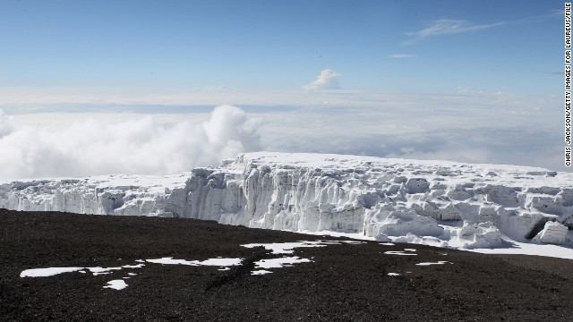 Melting snowpacks on mountains - The Kilimanjaro glacier viewed from Uhuru peak on day six of the Martina Navratilova Mt. Kilimanjaro Climb Day One on December 11, 2010 in Arusha, Tanzania.