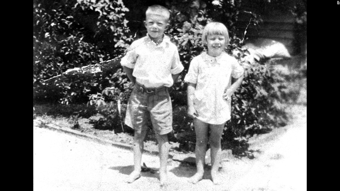 Carter, 6, poses with his sister Gloria in their hometown of Plains, Georgia, in 1931.
