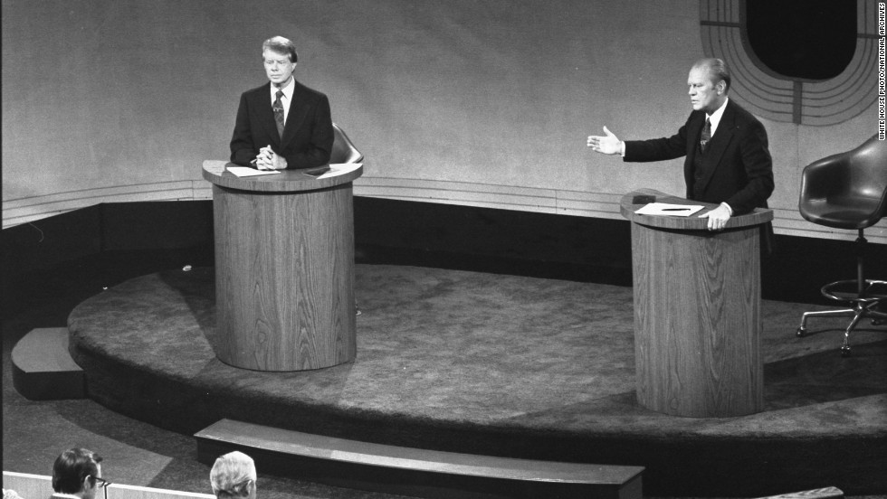 Carter and U.S. President Gerald Ford debate domestic policy at the Walnut Street Theater in Philadelphia in September 1976. It was the first of three Ford-Carter presidential debates.