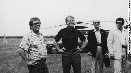 President Carter, second from left, and his brother Billy, left, visit Georgia's St. Simons Island in 1977.