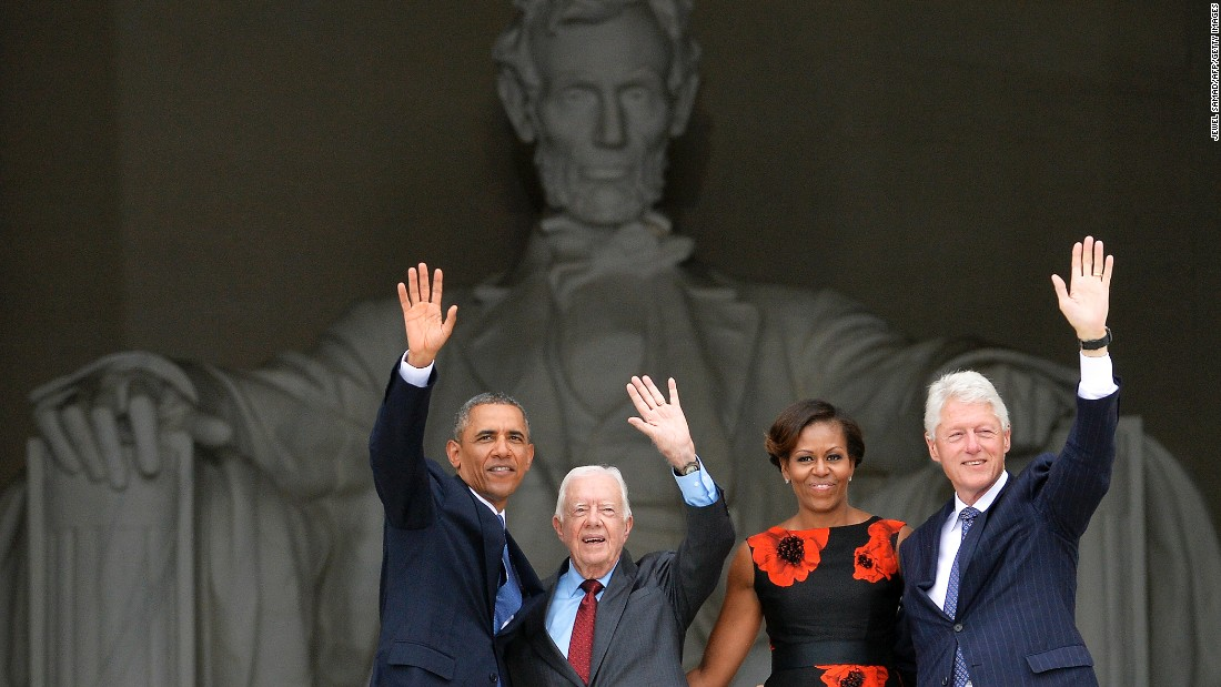 "From left, President Obama, Carter, first lady Michelle Obama and Clinton wave from the steps of the Lincoln Memorial on August 28, 2013. It was the 50th anniversary of the March on Washington, which is best remembered for Martin Luther King Jr.'s ""I Have a Dream"" speech."
