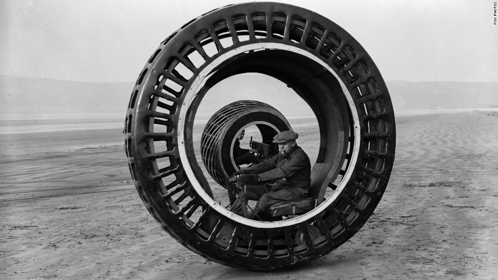 "Early experiments with one-wheeled transport included the ""dynasphere"" -- an electronically powered monowheel from the 1930s. Unfortunately the device had a tendency to ""gerbil,"" sending the driver racing around the wheel frame if the device braked too suddenly."