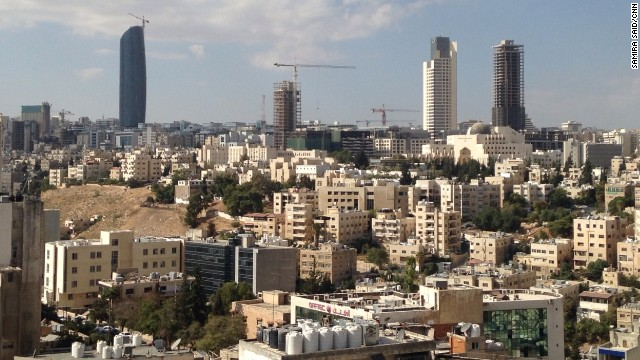 Amman skyline, showing new buildings as well as the King Hussein mosque. September 30, 2014.