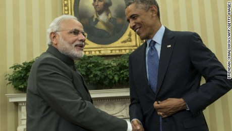 Indian Prime Minister Narendra Modi (L) and US President Barack Obama shake hands after a meeting in the Oval Office of the White House September 30, 2014 in Washington, DC. Obama met with the newly elected Modi during his first trip to the United States as Prime Minister. AFP PHOTO/Brendan SMIALOWSKI BRENDAN SMIALOWSKI/AFP/Getty Images