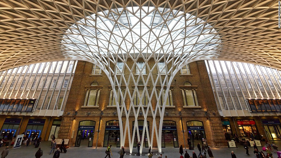 Harry Potter's platform 9 3/4 isn't the only draw at King's Cross Railway station. This 20-meter-high steel structure stretches over the Victorian terminal in diamond and triangle shapes.