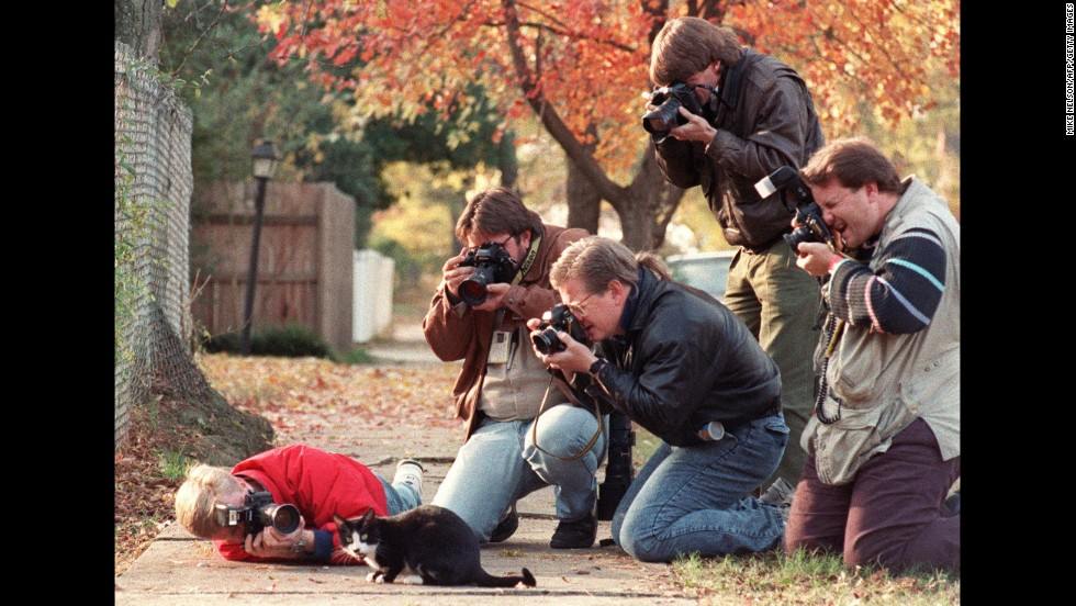The Clinton's cat, Socks, is photographed outside the Governor's Mansion in Little Rock on November 17, 1992.