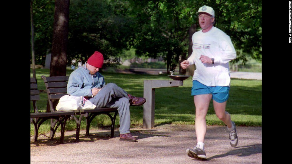 Clinton takes his morning jog through the National Mall in Washington on May 8, 1993.