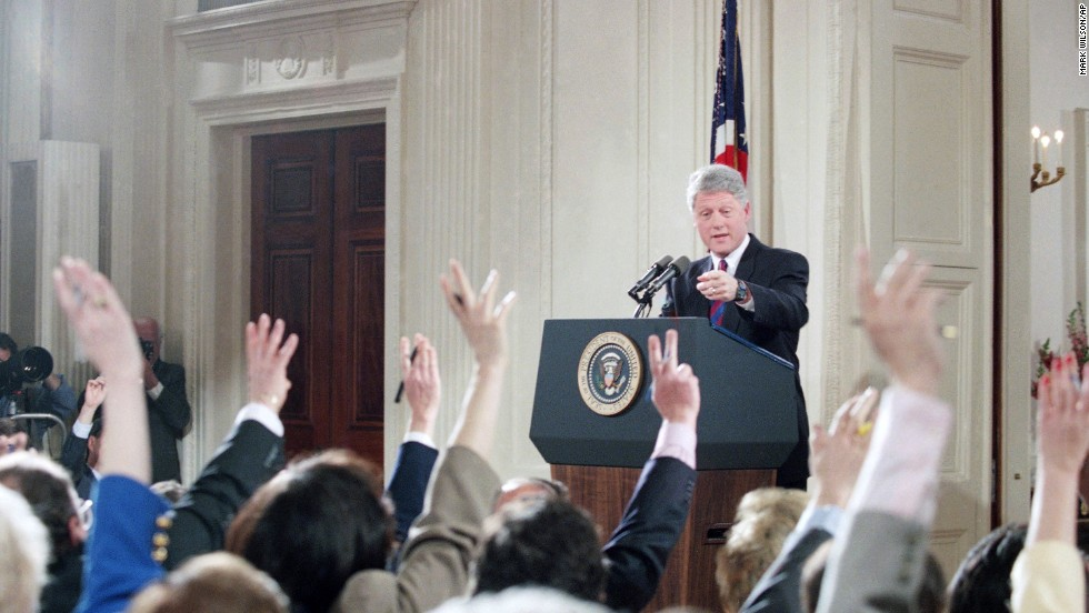 Clinton calls on a reporter during a news conference in the East Room of the White House on March 24, 1994. The President said he would release his tax returns from the late-1970s to answer questions about his Whitewater investment. Six years later, independent counsel Robert Ray closed the Whitewater investigation, clearing the Clintons of any wrongdoing in the real estate scandal.